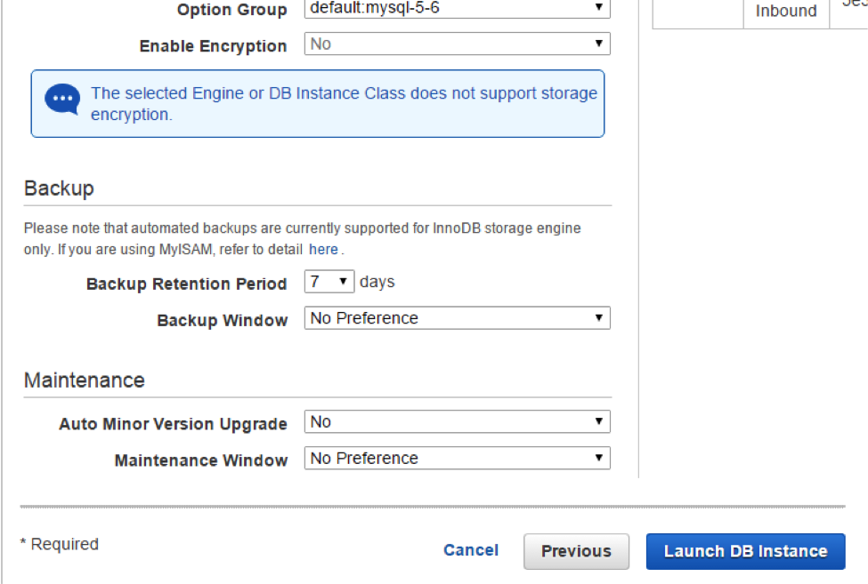 Amazon EC2 DB instance Advanced Settings 1