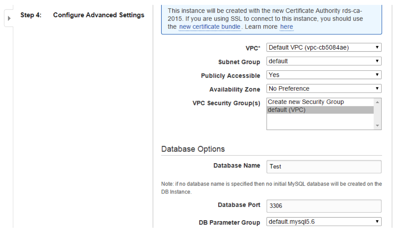 Amazon EC2 DB instance Advanced Settngs